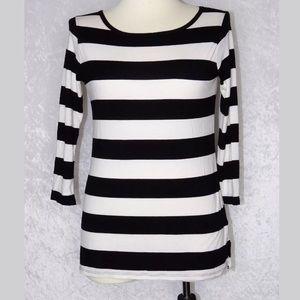 NYDJ Small-Medium Stipe Stretchy Top Black White